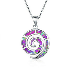 Purple Fire Opalite Infinity Circle Necklace